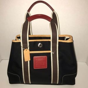 NWT Authentic Coach Black Red Brown Tote
